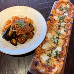 Margherita pizza and seafood pasta