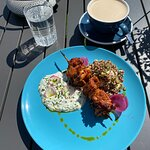 Chicken kabob and taziki lunch special with an almond milk chai latte