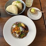 Bao buns (top), mushroom risotto (bottom), and Moscow mule