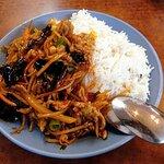 Pork with salty fish sauce on rice
