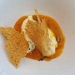millefoglie di polenta gialla, baccalà mantecato e crema di zucca