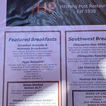 Part of the Hitching Post Restaurant menu