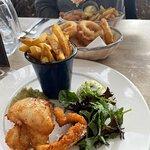 fish, chips and very mushy peas