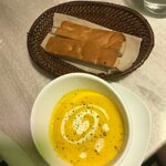Soup of the Day: Cream of Pumpkin with fresh bread made by them