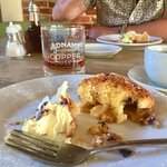 Apple and blueberry frangipane pie with clotted cream