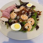 Chef salad with shrimp added