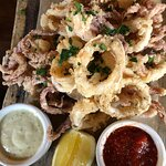 Calamari sauce is not the typical marinara. But in Venice, Italy, I was told by the Italians tha