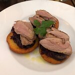 duck breast, apple cabbage and potato pancakes
