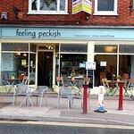 Outside of Feeling Peckish Cafe in Newark-on-Trent (27/Jun/21).