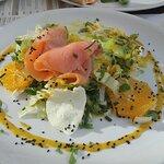 Sałatka z łososiem, mozzarellą i sosem imbirowo-musztardowym z nutką mango.