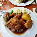 Lamb roast dinner with seasonal (and properly seasonal) vegetables not usually paired with roast
