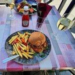 Chicken burger and halloumi salad