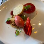 Strawberry Panda cotta with shortbread and a strawberries