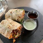 kathi rolls, delicious and healthy, served with two dipping sauces