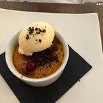 Apple Pie Crème Brulee, Vanilla Ice Cream
