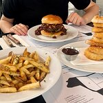 onion rings, beer&bacon burger and fries