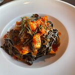 Seafood with the black pasta