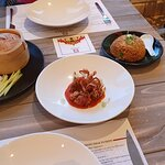 Mains (from left to right) - peking duck, chili crab, rice - for two people