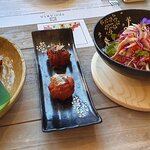 Starters (from left to right) - pancheta, takoyaky, vietnamese chicken salad - for two people