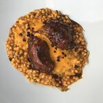 Strohschwein Backerl in Rioja geschmort, Chorizo & Fregola Sarda