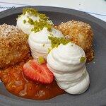 Cottage cheese dumplings, sour cream mousse, homemade apricot jam