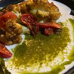 Baked cauliflower with outrageously delicious pesto sauce