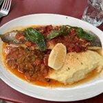 Filet de merlu, purée et légumes