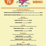 Eat Fit approved menu options at KY's Olde Town Bicycle Shop. The Eat Fit seal indicates the hea