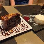 Tarta de chocolate y de queso