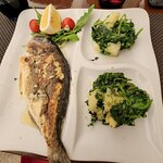 Grilled fish - not good. Vegetables - bland.