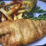 Ultimate fish and chips ,with jalapeño over chips