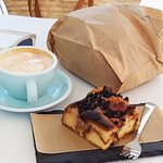 Coffee and Bread pudding (with a bagged loaf of sourdough bread)