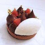 Araguani chocolate and almond semifreddo, tonic bean ice cream