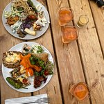 Brunch dishes at the roof garden terrace.