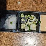 Dip tray for dishes at Broth Shabu-Shabu.