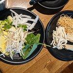 Salad and noodles dishes to add to the broth at Broth Shabu-Shabu.