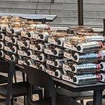 Stack of stove heaters on the back patio of Broth Shabu-Shabu.