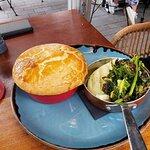 Steak pie with mash and veg.