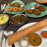 Masala dosa is the crepe like dish. I recommend them all, but that was my favourite