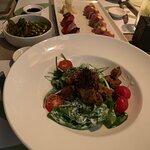 Tuna salad with spinach, Tuna - Foie gras nigir--aburi and Maguro Acevichado