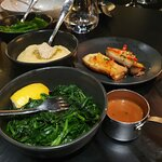 SEASONAL GREENS, CREAMED MASHED POTATO, KING OYSTER MUSHROOMS, SPINACH, Peppercorn Sauce