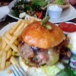 In the foreground is my friend's Finny's Dirty Burger, with my Spiced Harissa Lamb Burger in the