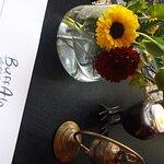 Fresh flowers, artistic menu.