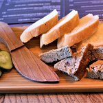 Bread, pate and cucumber pickles