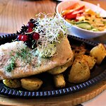 Trout filet with potatoes.