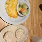 The Throw The Cheese Omelet is huge and delicious...served with two sides. The biscuits and grav