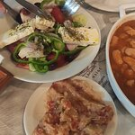gigantes beans, aubergine salad, Greek salad