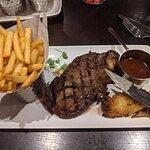16oz Ribeye, with fries & beef dripping sauce.