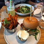 BBQ Korean burger with sweet potato fries and aioli, pineapple iced tea, pesto pappardelle with