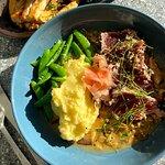 Mala Signature Seared Ahi Tuna with Yukon Mash, Snap Peas and a Shiitake Mushroom Ginger Sauce